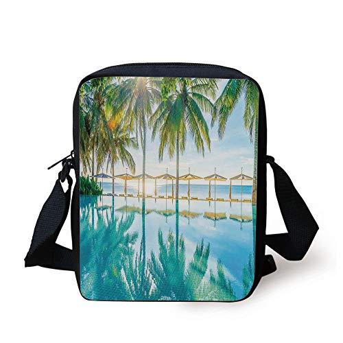 FAFANIQ Landscape,Pool by the Beach with Seasonal Eden Hot Sunny Humid Coastal Bay Photography,Green Blue Print Kids Crossbody Messenger Bag Purse