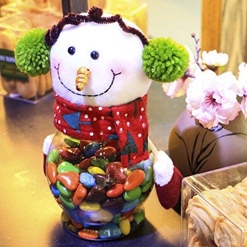 F-blue Navidad Felpa y plástico Caramelo Recipiente Decorativo Candy Candy Container Navidad tarros de Vacaciones