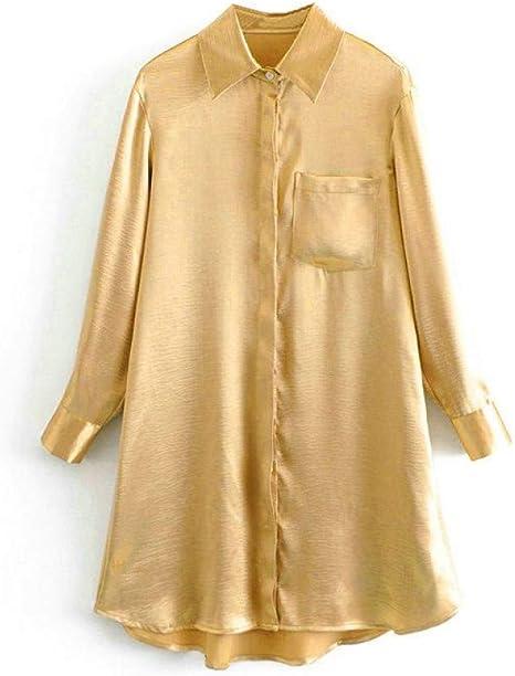 GDCAKMI Vestido de Camisa Dorada para Mujer Vestido de Dama ...