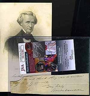 SIMON CAMERON JSA Cert Signed Abraham Lincoln VP Cut Autograph