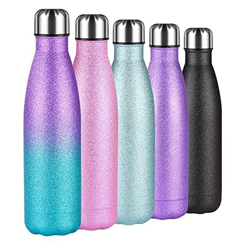 flintronic Botella Termica, 500ML Botella de Agua de Acero Inoxidable, Aislamiento de Vacío de Doble Pared, Botellas de Frío/Caliente Sin BPA, Estilo de Pintura Flash, Azul Púrpura