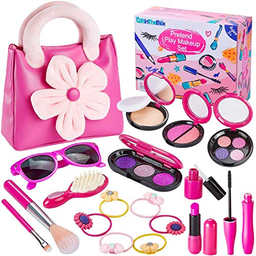 GiftInTheBox Pretend Makeup kit for Girls, Play Makeup Set with Pink Floral Tote Bag for Little Girls Age 3+, Great and Birthday Gift (Not Real Makeup)