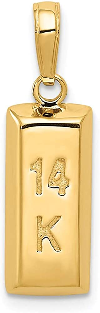 14k 3d Gold Bar Pendant Charm Necklace Theme Fine Jewelry For Women Gifts For Her