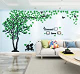 Árbol Pegatinas de Pared 3D Árbol Familia Marco de Fotos DIY Murales Stickers Decoración para Salón, Dormitorio, Oficina, Habitación Pegatinas Pared(1 Verde Izquierda,XL-400*200cm)