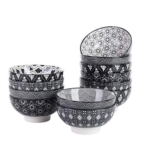 Vancasso Set 12 Pezzi Servizio da Ciotole in Porcellana Set di Zuppiere Ceramica Combinazione, Ciotole per Cereali Gelato Noodle, Ciotole da Snack Dolce, Fruttiere e Insalatiere Colore Bianca e Nero