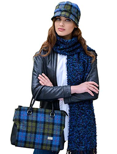 Mucros Weavers Ladies Flapper Hat Blue Moss Tartan
