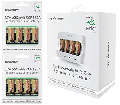 Tenergy Arlo gecertificeerde batterijlader met 12 Pack Oplaadbare CR123 3.7V 650mAh RCR123A Li-ion batterijen - Voor Arlo VMC3030 VMK3200 VMS3230 VMS3330 VMS3430 VMS3530 Draadloze beveiligingscamera's door