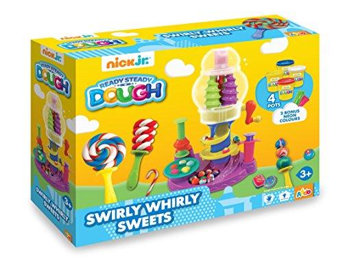 Nick Jr – Ready Steady Dough – Swirly Whirly Sweets – Machine à Bonbons – Lot de 4 boîtes de pâte à Modeler pour Enfants de 56 g et 2 boîtes Bonus de 28 g
