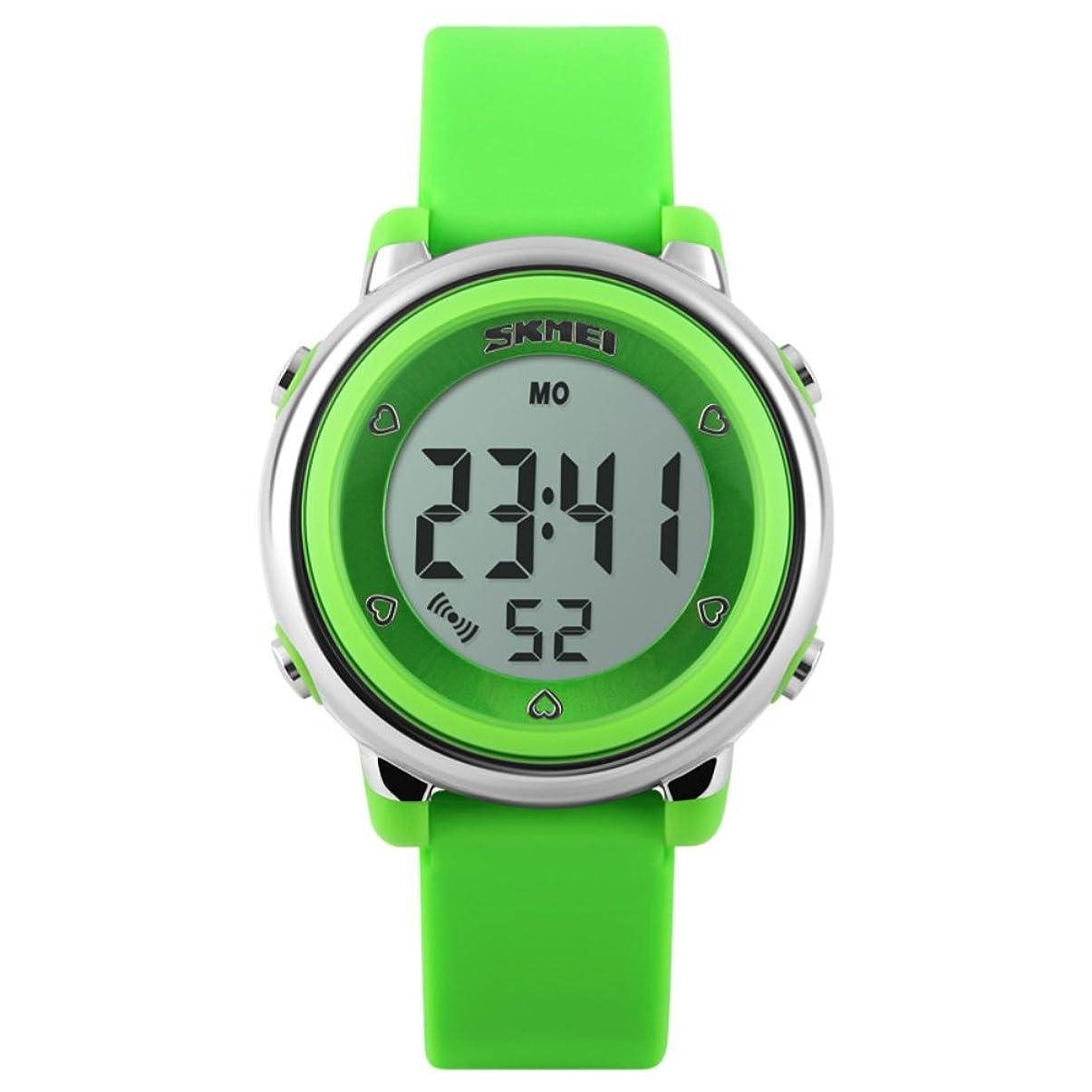 いじめっ子名目上のトンネルキッズ腕時計 防水 アラーム デジタル表示 七彩LEDバックライト カレンダー ボーイズ ガールズ ギフト グリーン