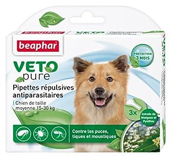 Beaphar - VETOpure, pipettes répulsives antiparasitaires - chien de taille moyenne (15-30 kg) - 3 pipettes