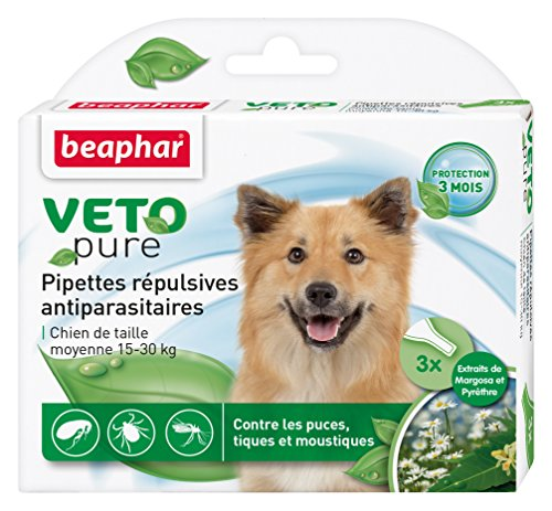 BEAPHAR – VETOPURE – Pipettes répulsives antiparasitaires pour chien moyen (15-30kg) – Aux extraits de Margosa & de Pyrèthre – Contre les puces, tiques et moustiques – Protection 3 mois – 3 pipettes