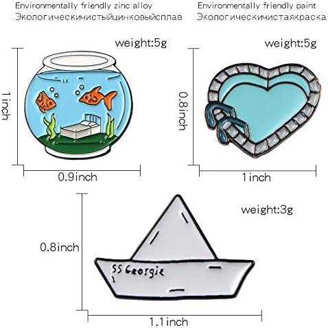 Harva Brooches - Stephen King's Boat Swimming Pool Fish Bowl Pin Set Cartoon Brooches Badges for Clothes Bags Backpacks Fashion Pins - (Metal Color: Boat)