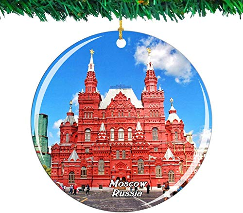 Bernice Winifred Russia Red Square Moscow Christmas Ornament City Travel Souvenir Collection Double Sided Porcelain 2.85 Inch Hanging Tree Decoration