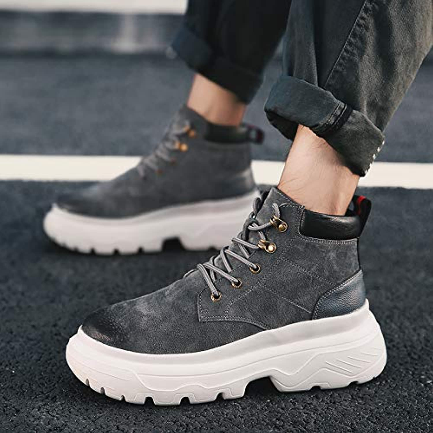 Shukun Men's boots Autumn Martin Boots Men'S High-Top Versatile Boots Increased Thick-Soled High-Cut Tooling Men'S Boots