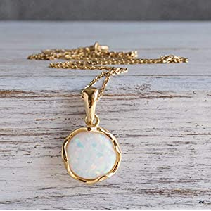 Dainty, Minimalist White Opal Necklace - 14K Gold Plated over 925 Sterling Silver