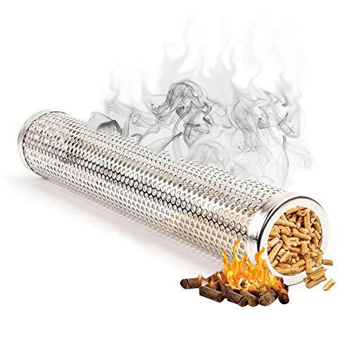 Tubo Fumatore A Pellet Freddo Caldo di Fumo Barbecue Affumicatore Tubo in Pellet in Acciaio Inox Smoker Griglia per Barbecue Generator per Le Griglie Elettriche, A Gas, Carbone O per Fumatori—Round
