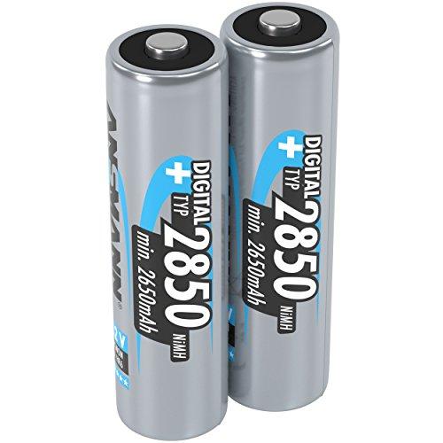 ANSMANN Akku AA Typ 2850mAh NiMH 1,2V - Mignon AA Batterien wiederaufladbar, mit hoher Kapazität ideal für hohen Strombedarf wie Kamera, Foto-Blitz, Taschenlampe, Controller (2 Stück)