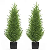 Kissilk Artificial Cedar Pine Tree Silk Tree Arborvitae Tree Perfect Faux Plants Potted UV Rated Plant for Indoor Outdoor, Home Garden Office Store Decoration,3 Feet-2 Pack (3 Feet-2 Pack)