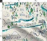 Landkarte, Draußen, Wald, Berge, Fluss Stoffe -