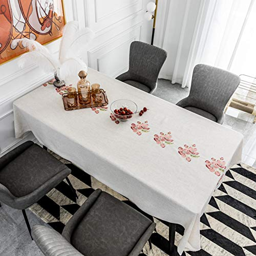 Pink Peach Blossom Embroidery Tablecloth, Rectangular/Square Polyester Washable Table Covers, seasons(Beige White),135x220cm(53 * 86.6in)