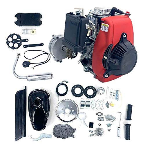 SOFEDY 4 Stroke Bicycle Engine Kit, Gas Petrol Motorized Bike Engine Scooter Parts for 26' Bicycle, 49CC Red and Silver