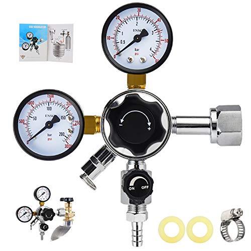 MRbrew Keg CO2 Regulator, Kegerator Regulator CGA-320, 0-60 PSI Working Pressure, 0-3000 PSI Tank Pressure, Beer Regulator, Co2 Pressure Regulator with Safety Pressure Relief Valve