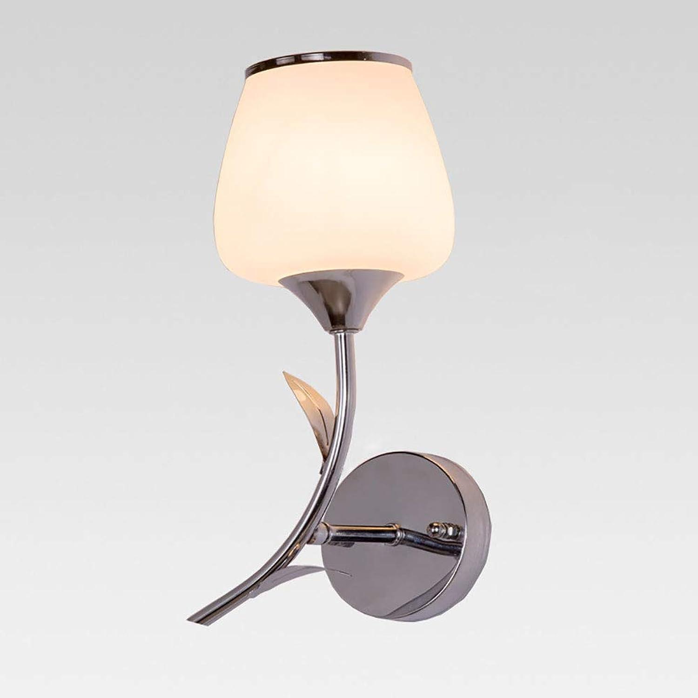 Vinmin Moderne Wandleuchte Wandleuchte Schlafzimmer, LED-Wandleuchte warmwei, Rundglas-Wandleuchte aus Glas Blaumenblatt Hochwertige Hardware-Basis E27