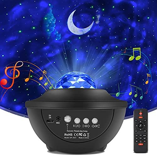 Proyector Estrellas,Proyector de Luz Estelar,Proyector Estrellas Galaxy Projector,10 Modos Proyector LED Color Reproductor de Música,con Temporizador,Niños Adultos Fiesta Decoración Regalo