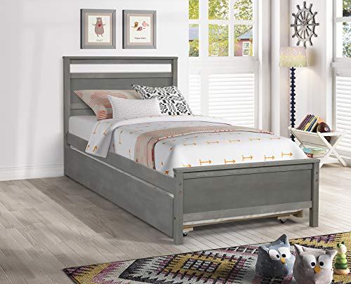hanway Twin Bed Frame – Trundle Bed Twin – Exquisite Pine Wood Craftsmanship – American Country Style with Distressed Surface Pull Out Bed – Ideal for Guest Bedroom