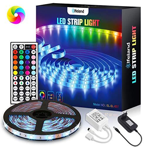 Elfeland LED Strip 5m, RGB LED Streifen 150LEDs 5050SMD Led Band TV Hintergrundbeleuchtung Farbwechsel LED Lichtband mit 44 Tasten Fernbedienung 12V Netzteil Selbstklebend Innen Lichterkette Full Kit