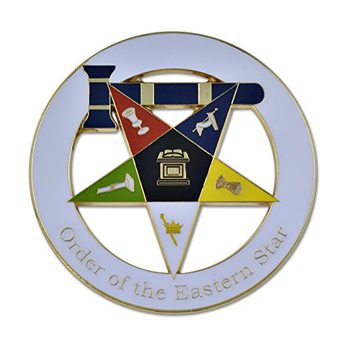 Order of the Eastern Star Matron Masonic Auto Emblem - [White & Gold][3'' Diameter]