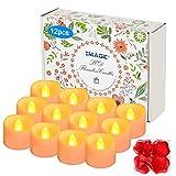 12 pz Senza Fiamma Timer LED Candele da Tè, con Finto Rosa Petali di fiori, per la Decorazione Domestica Di Natale, Giallo Ambrato