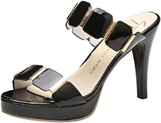 Alaso Mule Femme Sexy Talon Aiguille 9 CM Chaussures à Talon Dames Bout Ouvert Soirée Fête Plage Sandale Escarpins Pas Che...