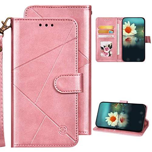 iPhone XR Hülle Leder Tasche Flip Case Schutzhülle,QPOLLY Geometrische Muster PU Leder Handy Tasche Magnetisch Brieftasche Klapphülle mit Kartenfächer für iPhone XR,Roségold