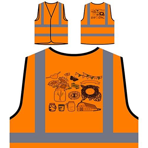 Te amo boda novedad tarros de cristal arte vintage Chaqueta de seguridad naranja personalizado de alta visibilidad a133vo