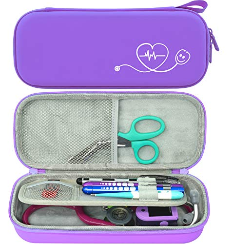 ButterFox Premium Stethoscope Case with Divider and ID Slot for 3M Littmann Classic III, Cardiology IV Diagnostic and More Stethoscopes with Pocket for Nurse Accessories (Purple)