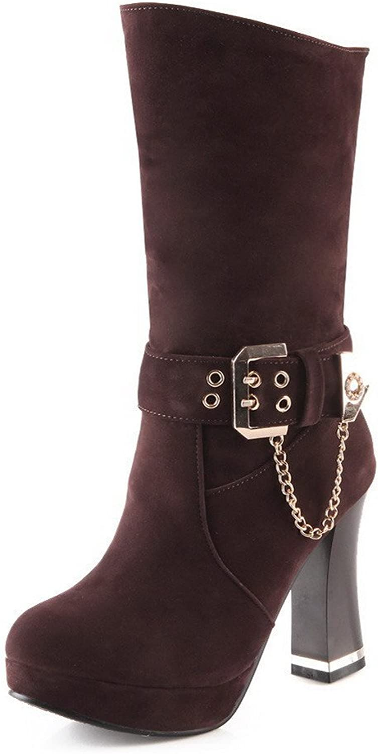 WeiPoot Women's Solid High-Heels Round Closed Toe Imitated Suede Pull-on Boots