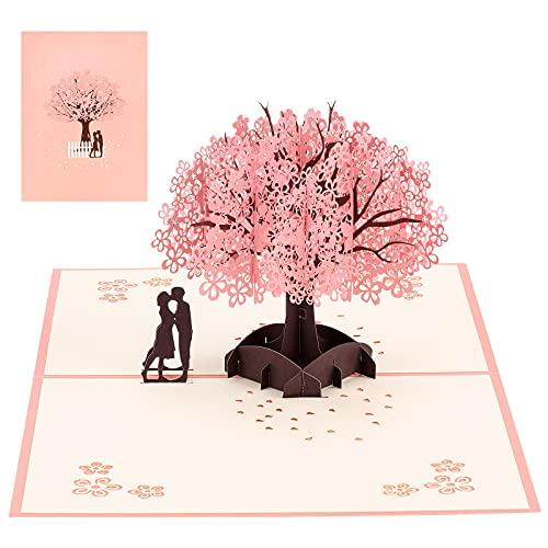 yumcute Pop Up Karte, Hochzeitskarte mit Umschlag, 3D Geburtstagskarte, Rosa Kirschblüte Valentinstag Karte, für Hochzeitstag, Hochzeitsgeschenk, Geburtstag, Graduierung Karte, Hochzeitseinladung