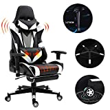 Scurrty Professional Gaming Chair Ergonomic Massage Gaming Chair High Back Office Chair Video PC Racing Reclining Gaming Chair With Footrest Office Desk Chair Pu Leather Adjustable Swivel Racing Chair
