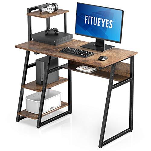 FITUEYES Mesa de Ordenador Madera Marrón Clásico con Estantes Escritorio para Oficina Hogar Estudio 103x50,5x106cm CD210302WR