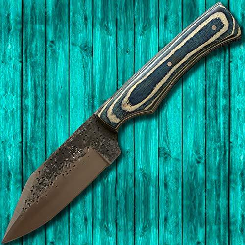 Hobby Hut HH-333 Jagdmesser mit Scheide, 13,34 cm 1095 Kohlenstoffstahl Messer mit Fester Klinge, Pakka Holzgriff Für Jagdcamping