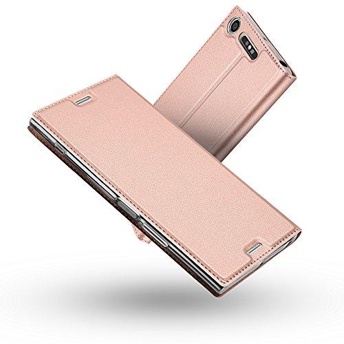 Radoo Funda Sony Xperia XZ1, Slim Case de Estilo Billetera Carcasa Libro de Cuero,PU Leather con TPU Silicona Case Interna Suave [Función Soporte][Cierre Magnético] para Sony Xperia XZ1 (Oro Rosa)