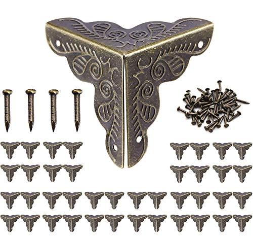 40 x Antik Möbel Ecken,Eckenschutz Metall,Buchecken Schutzecken Möbel Zubehör für Kisten Boxen Möbel Regal Tisch,Vintage Bronze-Farbe Optik,25x35mm,160 passende Nägel