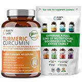 Organic Turmeric Curcumin 2,250MG. Highest Quality and Potency Available - 95% Standardized Curcuminoids and Black Pepper Bioperine for increased bioavailability - For Joint Mobility & Inflammation
