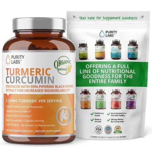 Purity Labs Organic Turmeric Curcumin Supplement – 1100Mg, 120 Capsules, With Black Pepper Piperine And 95% Curcuminoids, Highest Potency And Best Joint Pain Relief Formula, Non-Gmo &Amp; Gluten Free
