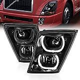 AmeriLite for 2003-2017 Volvo VN VNX VNL VNM Truck Black Dual LED Halo Bar Bumper Fog Lights Replacement Lamps Pair w/Wiring - Driver and Passenger Side