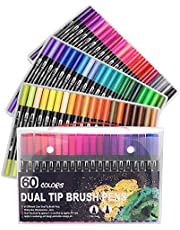 Bullet Journal 60pcs Colouring Pens, Dual Tip Brush Pens Art Markers Fineliner Water Color Drawing Pens