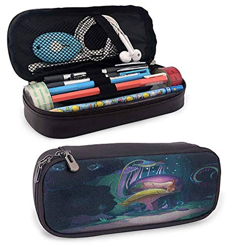 Mushroom Leather Pencil Case with Zipper Big Magical Plant in Fairytale Forest at Midnight Children Book Design Wonderland Durable Double Zipper Multicolor