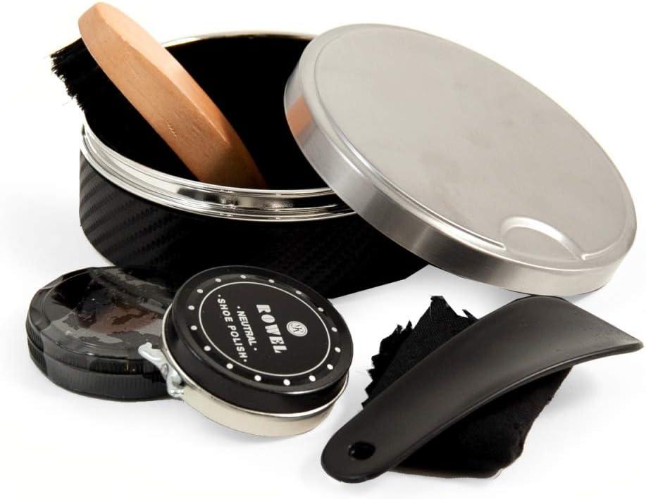 Five Piece Shoe Shine Wholesale depot Set Black Stainless Leather Steel Case