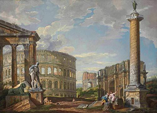 Estátua de Hércules e o Coliseu (1745) de Giovanni Paolo Panini - 30x41 - Tela Canvas Para Quadro